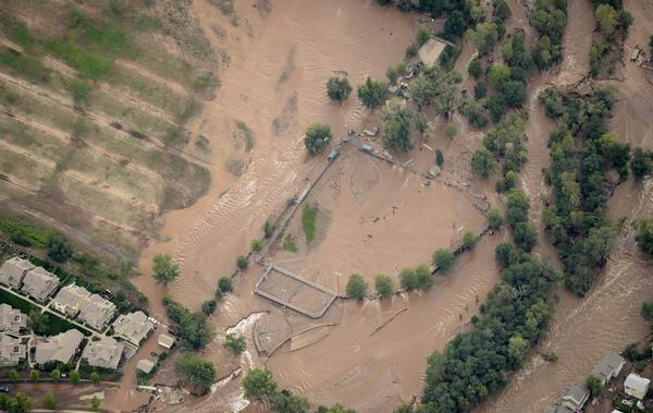 LYONS, CO - SEPTEMBER 13: An aerial photograph shows the damage in Lyons from the flood, September 13, 2013. Massive flooding continues to hit Colorado. (Photo By RJ Sangosti/The Denver Post)